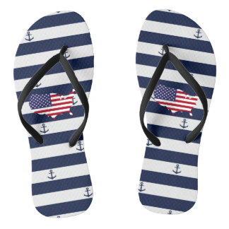 American map flag | nautical stripes pattern flip flops