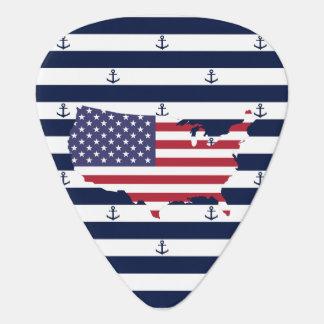 American map flag | nautical stripes pattern guitar pick
