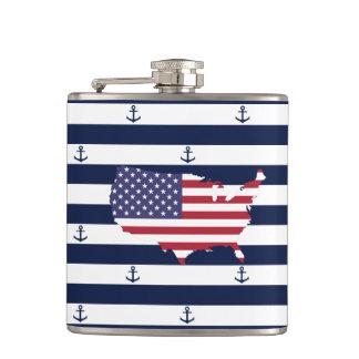 American map flag | nautical stripes pattern hip flask