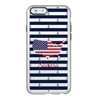 American map flag | nautical stripes pattern incipio feather® shine iPhone 6 case