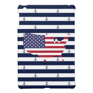 American map flag | nautical stripes pattern iPad mini cover