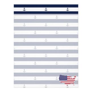 American map flag   nautical stripes pattern letterhead
