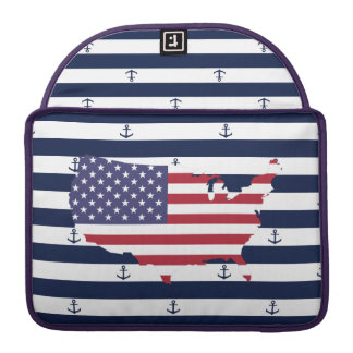 American map flag | nautical stripes pattern MacBook pro sleeves