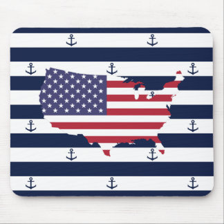 American map flag | nautical stripes pattern mouse pad