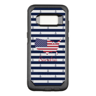 American map flag | nautical stripes pattern OtterBox commuter samsung galaxy s8 case