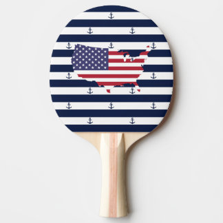 American map flag | nautical stripes pattern ping pong paddle