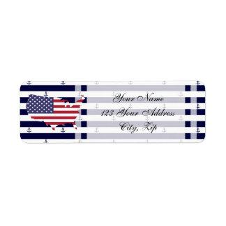 American map flag | nautical stripes pattern return address label