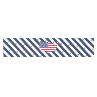 American map flag | nautical stripes pattern short table runner