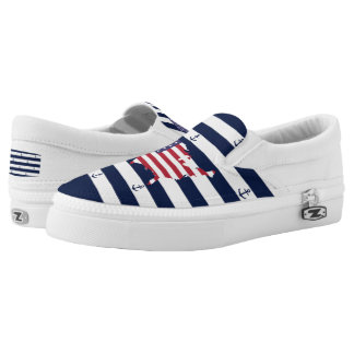 American map flag | nautical stripes pattern Slip-On sneakers