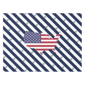 American map flag | nautical stripes pattern tablecloth