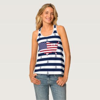 American map flag | nautical stripes pattern tank top