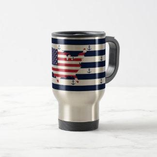 American map flag | nautical stripes pattern travel mug
