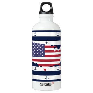 American map flag | nautical stripes pattern water bottle