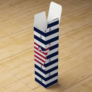 American map flag | nautical stripes pattern wine bottle box