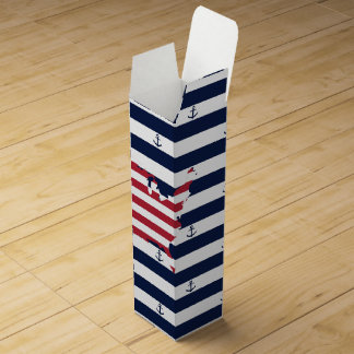American map flag | nautical stripes pattern wine box