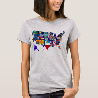American Map State Flags Mosaic Tee Shirt