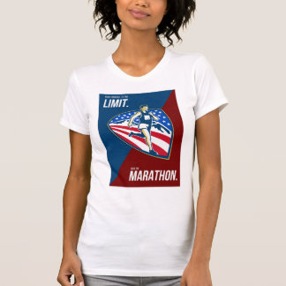 American Marathon Runner Push Limits Retro Poster T Shirts