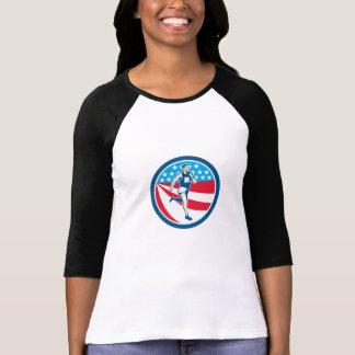 American Marathon Runner Running Circle Retro Tshirts