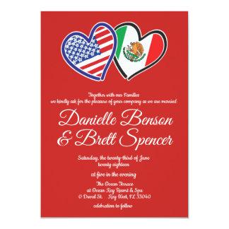 American Mexican Love Wedding Invitation