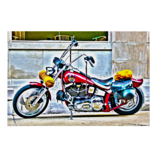 American Motorcycle Outside Cafe HDR Poster