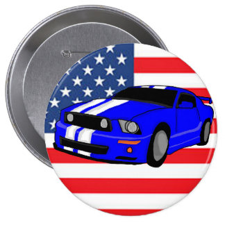 American Muscle Car 4 Inch Round Button