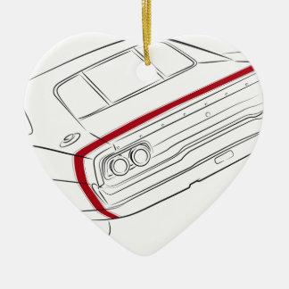 American muscle car ceramic heart ornament