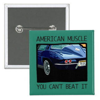 American muscle car, classic and vintage blue V8 2 Inch Square Button