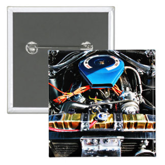 American Muscle Car Engine 2 Inch Square Button