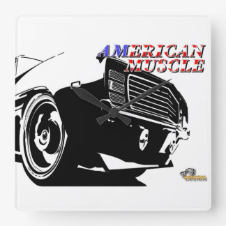 American muscle car square wall clock