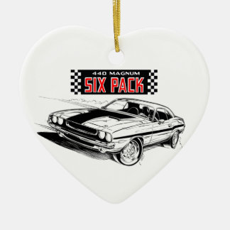 American Muscle - Dodge Challenger Ceramic Heart Ornament