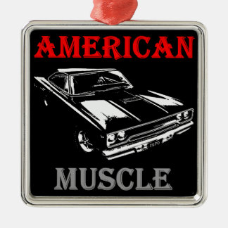 American Muscle - Plymouth Road Runner Silver-Colored Square Ornament