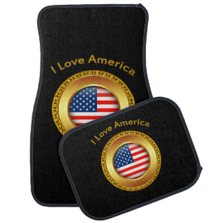 American nation flag with a gold frame car mat