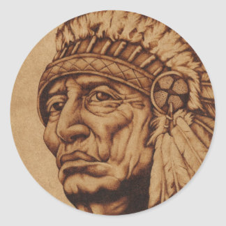 American Native Transfer Classic Round Sticker