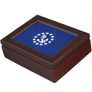 American Nautical Yacht Flag on Navy Blue Memory Box