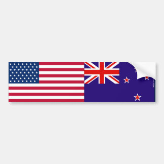 American & New Zealander Flags Bumper Sticker