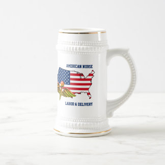 American Nurses. Patriotic Design Gift Beer Mugs