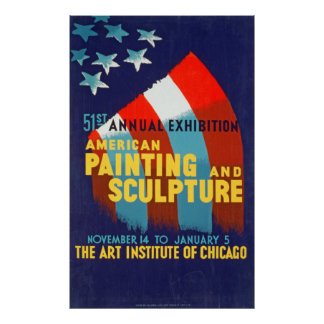 American Painting and Sculpture Vintage Poster
