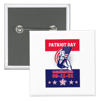 American Patriot Day Poster 911 Greeting Card Button