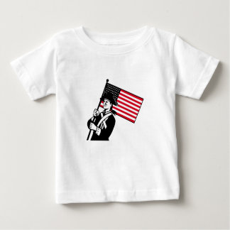 American Patriot Holding Flag Retro Baby T-Shirt