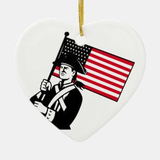 American Patriot Holding Flag Retro Ceramic Ornament