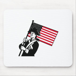 American Patriot Holding Flag Retro Mouse Pad