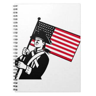American Patriot Holding Flag Retro Notebook
