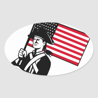 American Patriot Holding Flag Retro Oval Sticker
