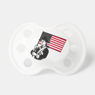 American Patriot Holding Flag Retro Pacifier