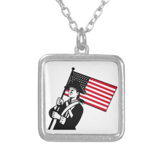 American Patriot Holding Flag Retro Silver Plated Necklace