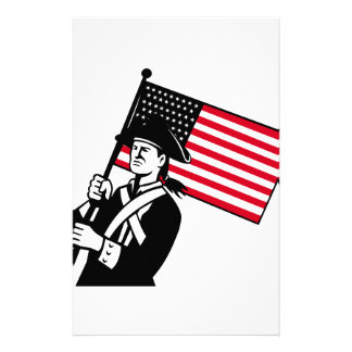 American Patriot Holding Flag Retro Stationery