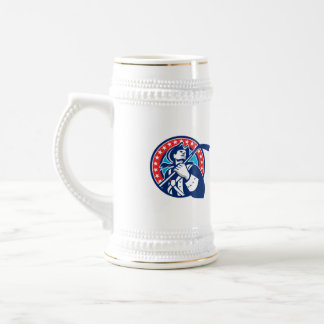 American Patriot Ice Hockey Stick Circle Retro Beer Stein