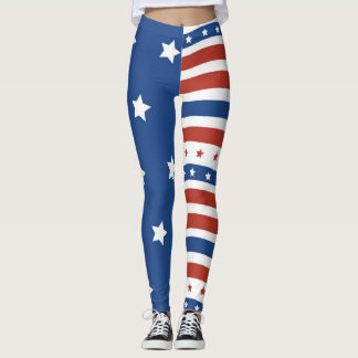 American Patriot Liberty Flag Stars Stripes Design Leggings