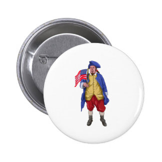 American Patriot Shouting Holding Flag Watercolor 2 Inch Round Button