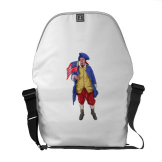American Patriot Shouting Holding Flag Watercolor Commuter Bag